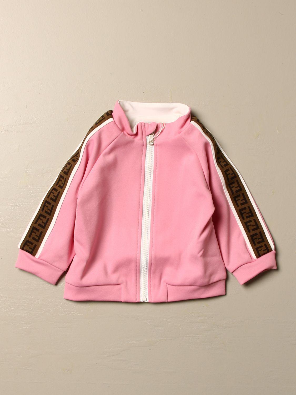 Maglia Fendi: Felpa Fendi con cappuccio e zip rosa 1
