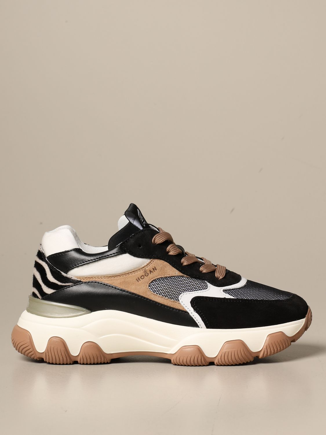 Hyperactive Hogan sneakers in mesh leather and suede
