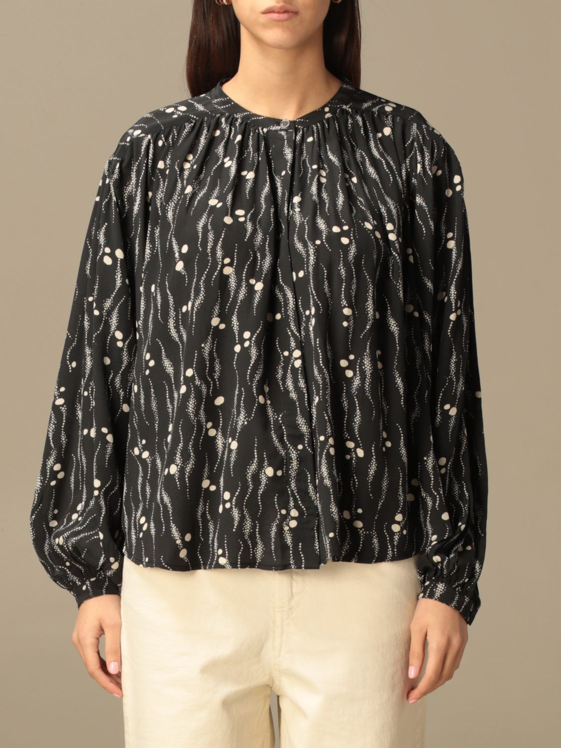 Top Isabel Marant: Isabel Marant patterned crewneck blouse black 1