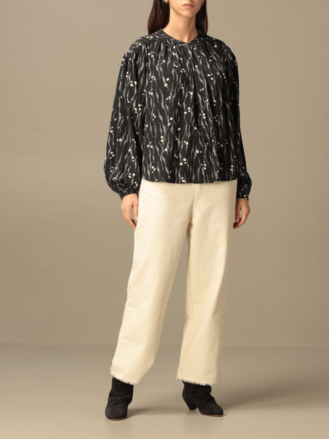 Top Isabel Marant: Isabel Marant patterned crewneck blouse black 2