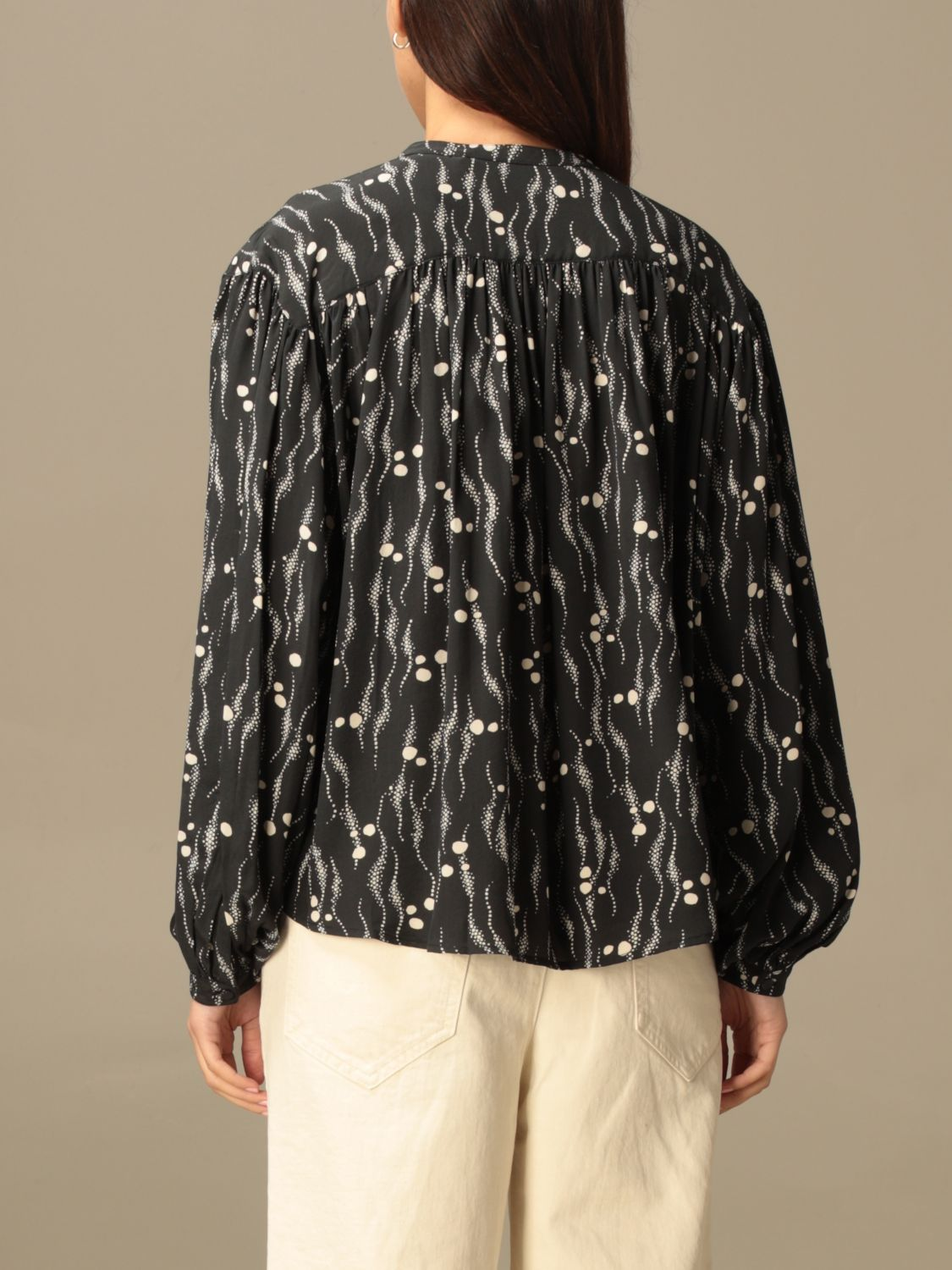 Top Isabel Marant: Isabel Marant patterned crewneck blouse black 3