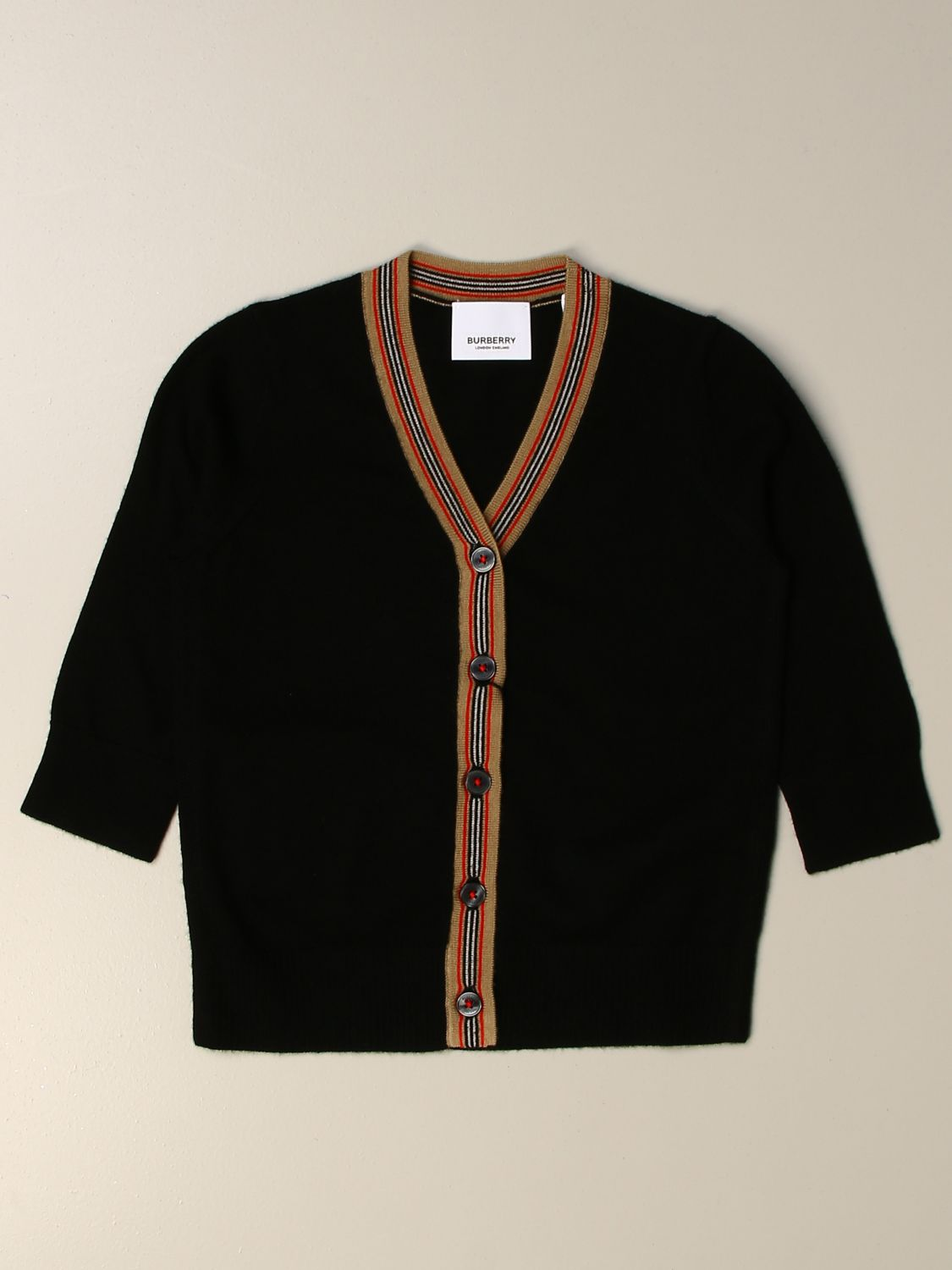 Sweater Burberry: Burberry cardigan with striped profiles black 1