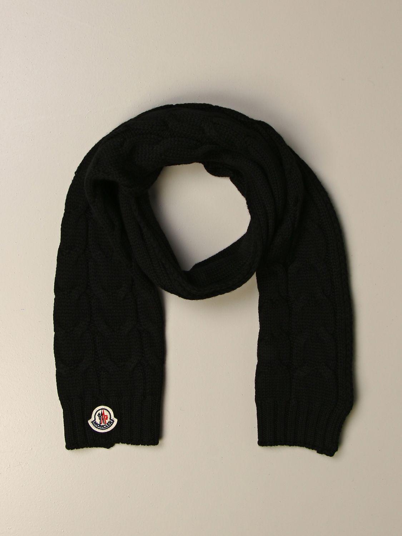 Sciarpa bimba Moncler: Sciarpa Moncler a trecce con logo nero 2
