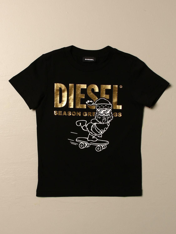 Maglia Diesel: T-shirt Diesel a girocollo in cotone con logo laminato nero 1