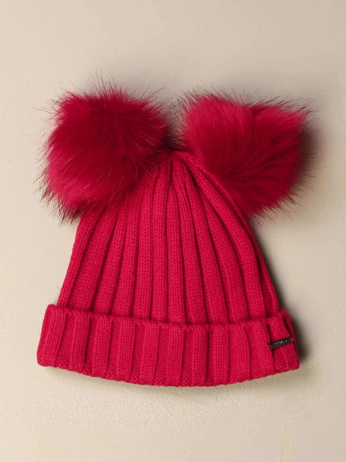 Hat girl Liu Jo: Liu Jo hat with maxi pompom fuchsia 1