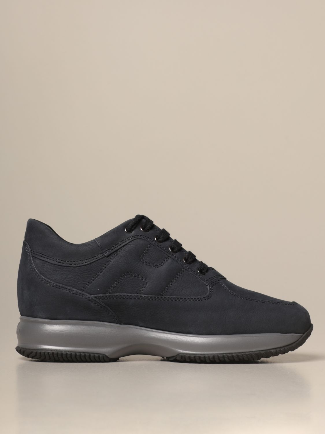 Hogan Outlet: Interactive sneakers in nubuck with rounded H ...