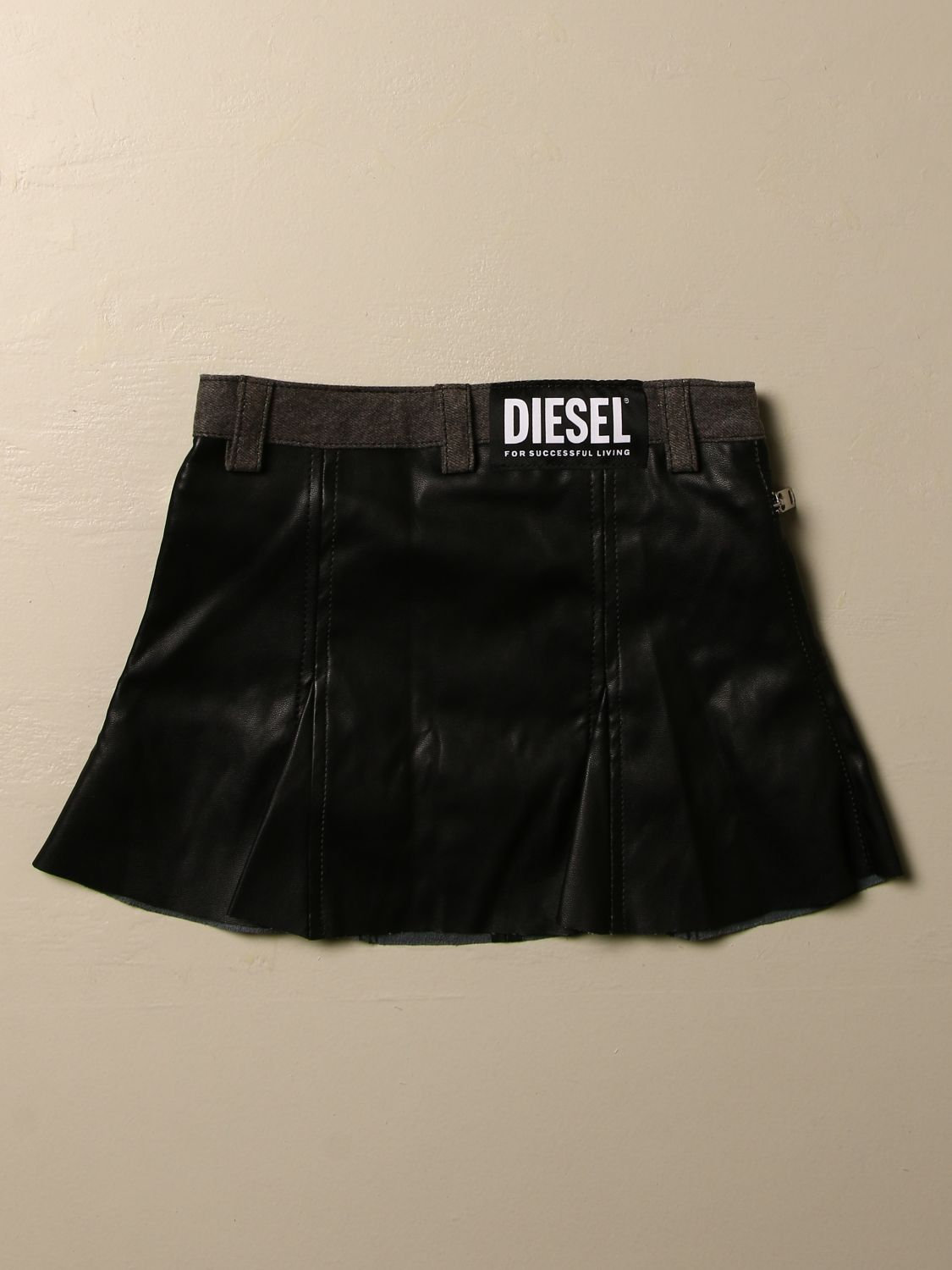 Gonna Diesel: Gonna mini Diesel in pelle sintetica denim 2