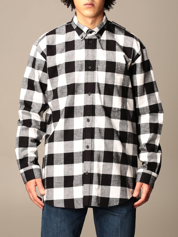 Shirt Balenciaga: Balenciaga checked shirt with logo black 1