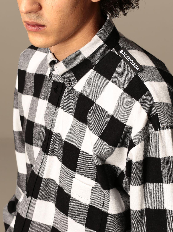 Shirt Balenciaga: Balenciaga checked shirt with logo black 5