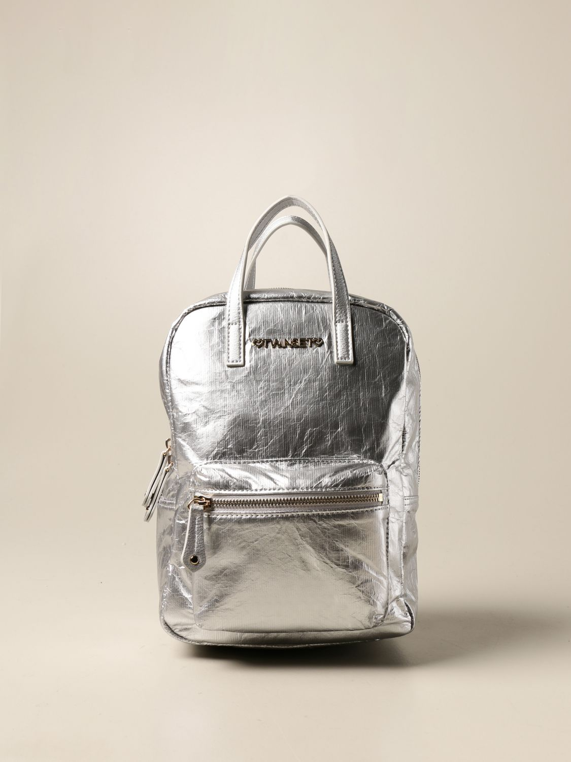 Duffel Bag Twin Set: Twin-set backpack in laminated synthetic leather silver 1