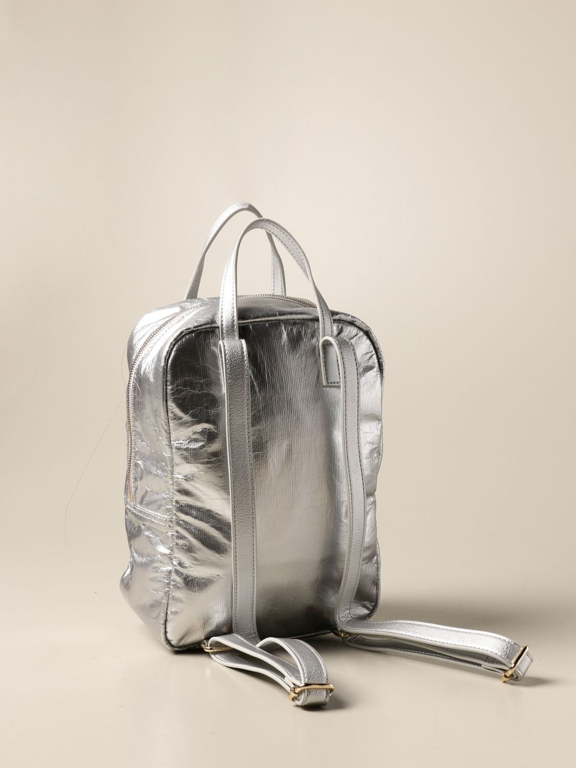 Duffel Bag Twin Set: Twin-set backpack in laminated synthetic leather silver 2