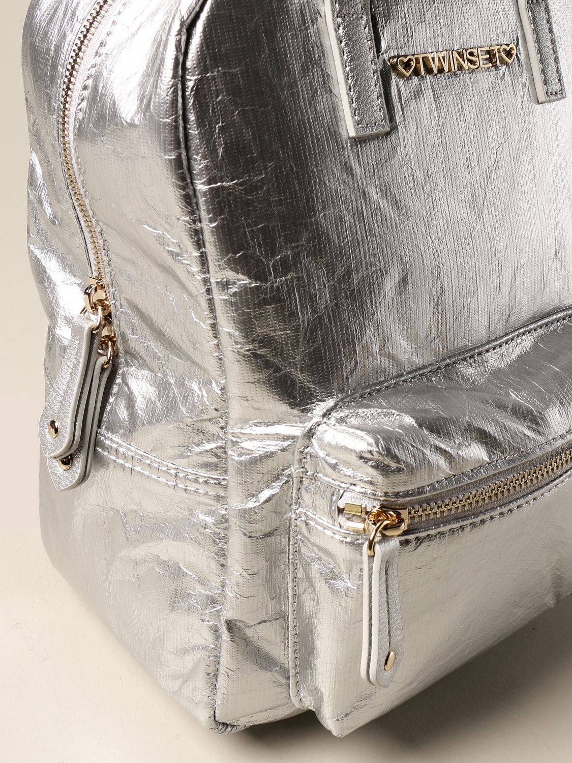 Duffel Bag Twin Set: Twin-set backpack in laminated synthetic leather silver 3