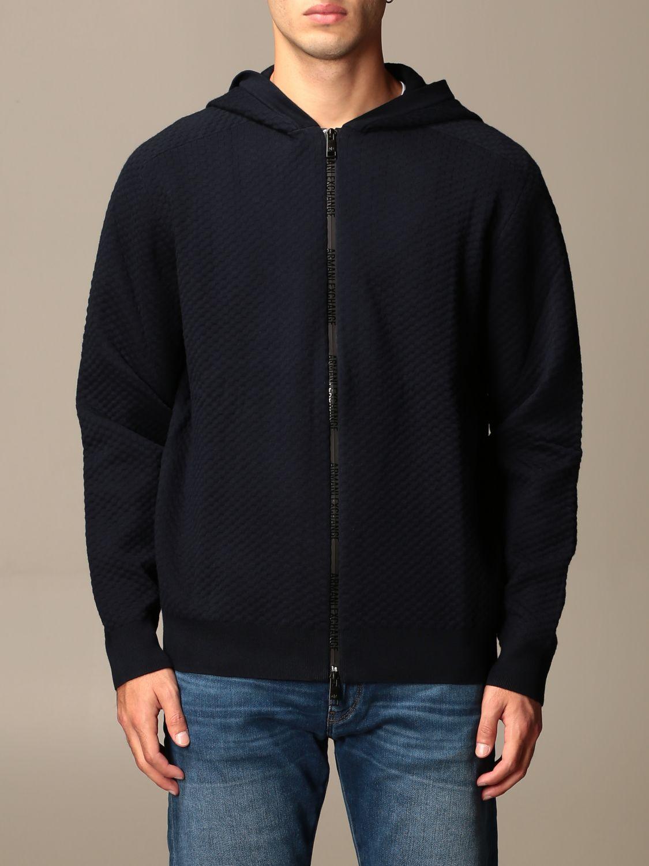 Sweater Armani Exchange: Armani Exchange sweatshirt with hood and zip blue 1
