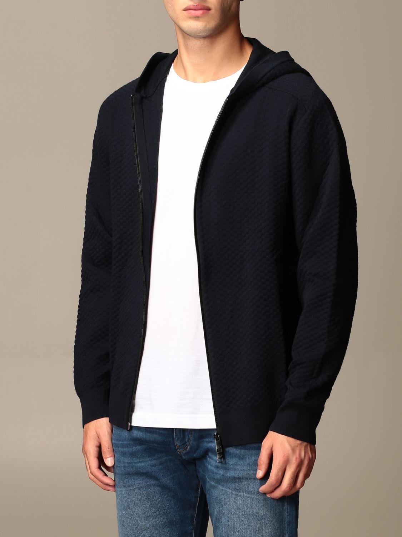 Sweater Armani Exchange: Armani Exchange sweatshirt with hood and zip blue 3