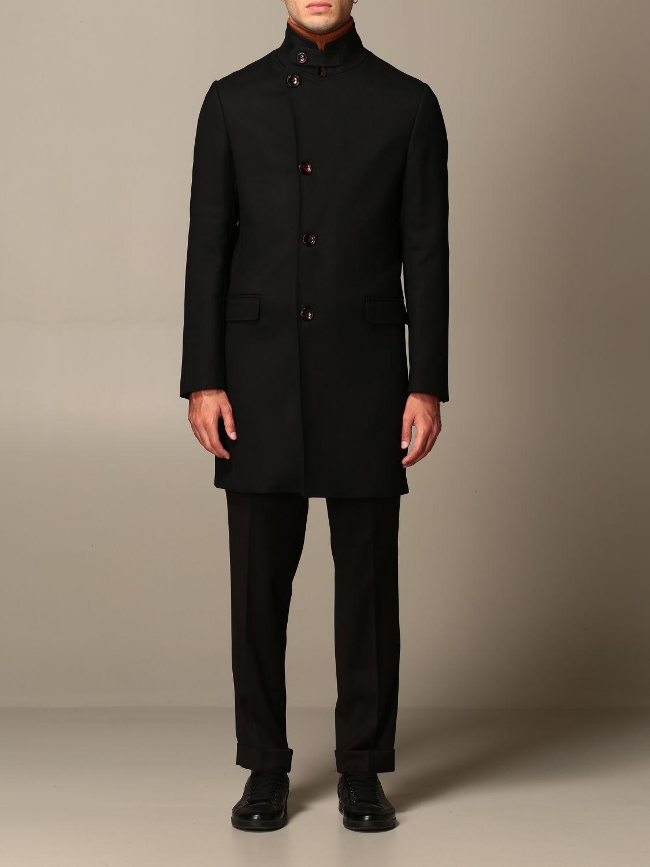 Cappotto Alessandro Dell'acqua: Cappotto classico Alessandro Dell'acqua in misto lana nero 1