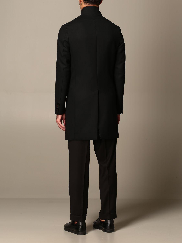 Cappotto Alessandro Dell'acqua: Cappotto classico Alessandro Dell'acqua in misto lana nero 3