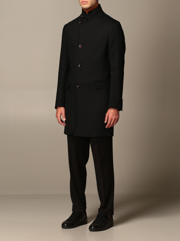 Cappotto Alessandro Dell'acqua: Cappotto classico Alessandro Dell'acqua in misto lana nero 4