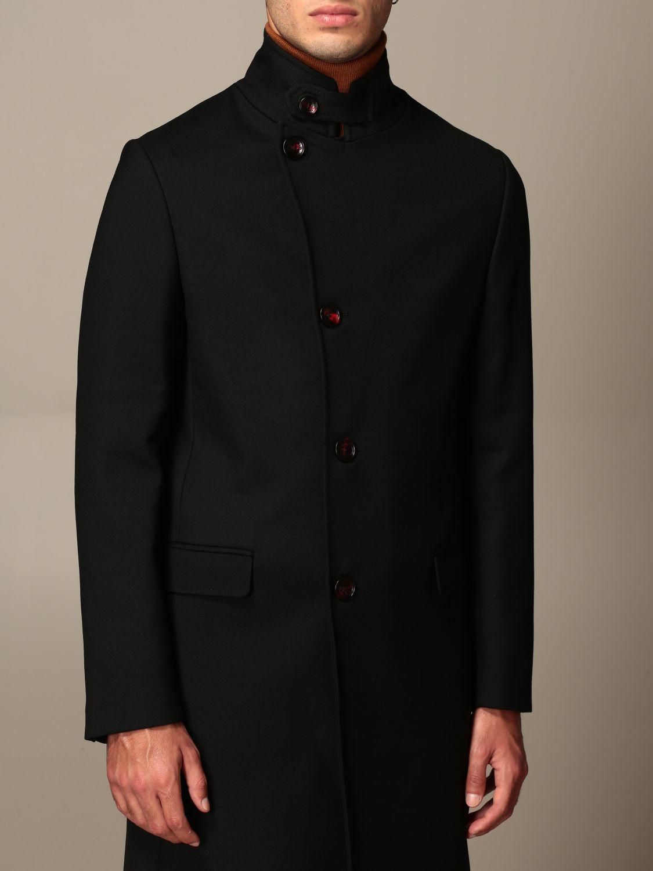 Cappotto Alessandro Dell'acqua: Cappotto classico Alessandro Dell'acqua in misto lana nero 5