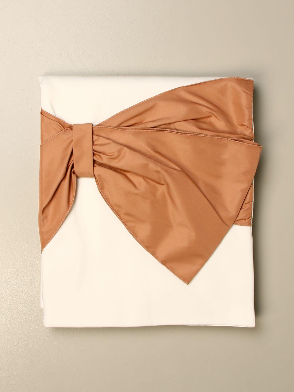 Blanket Elisabetta Franchi: Elisabetta Franchi cotton blanket with big bow ivory 1