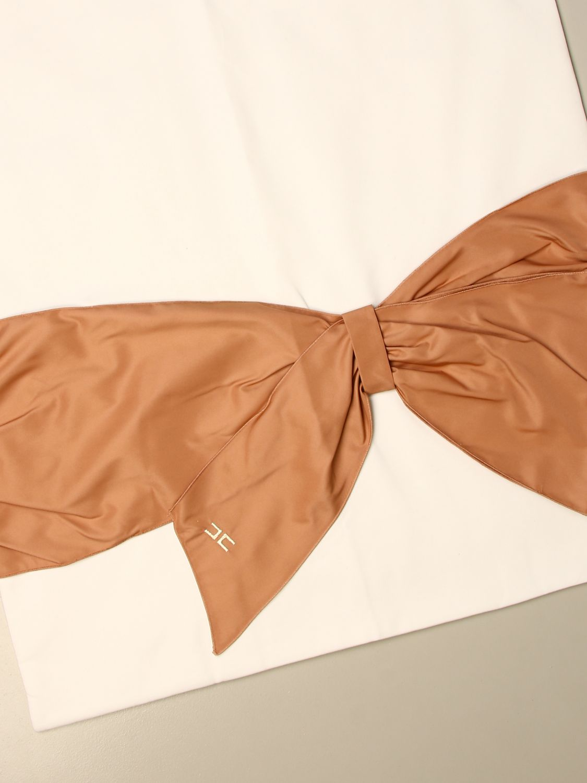 Blanket Elisabetta Franchi: Elisabetta Franchi cotton blanket with big bow ivory 2