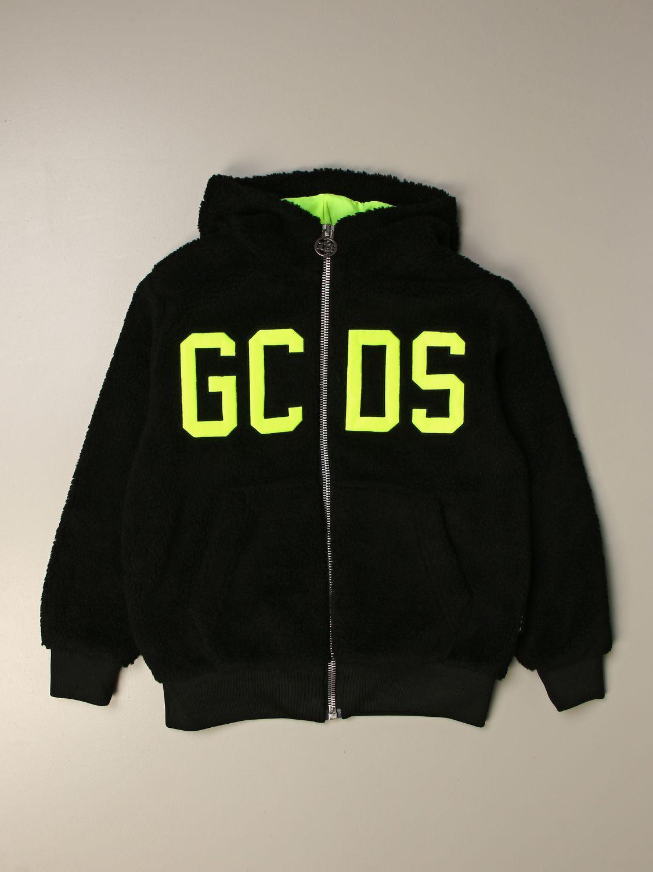 Sweater Gcds: GCDS sweatshirt with big logo and zip black 1