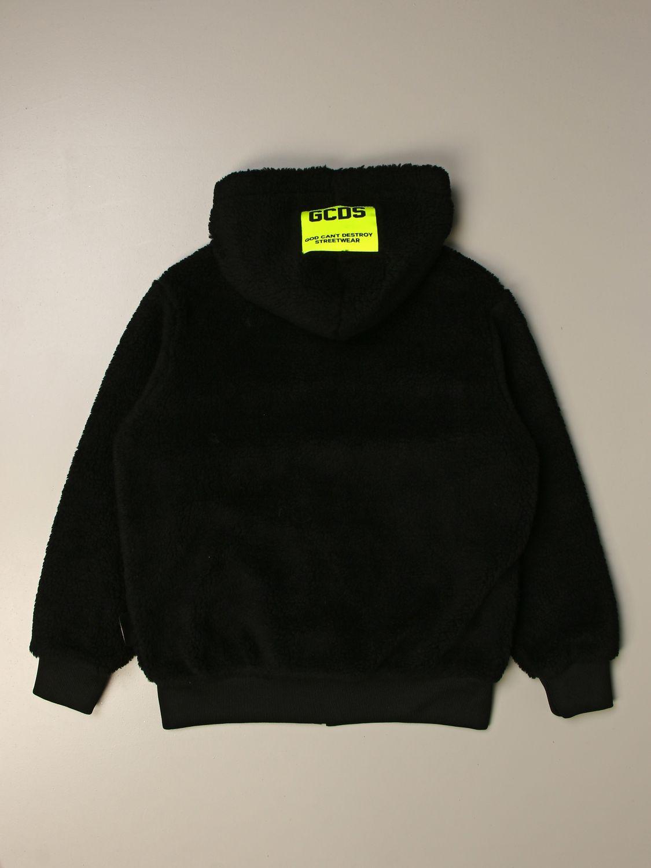 Sweater Gcds: GCDS sweatshirt with big logo and zip black 2