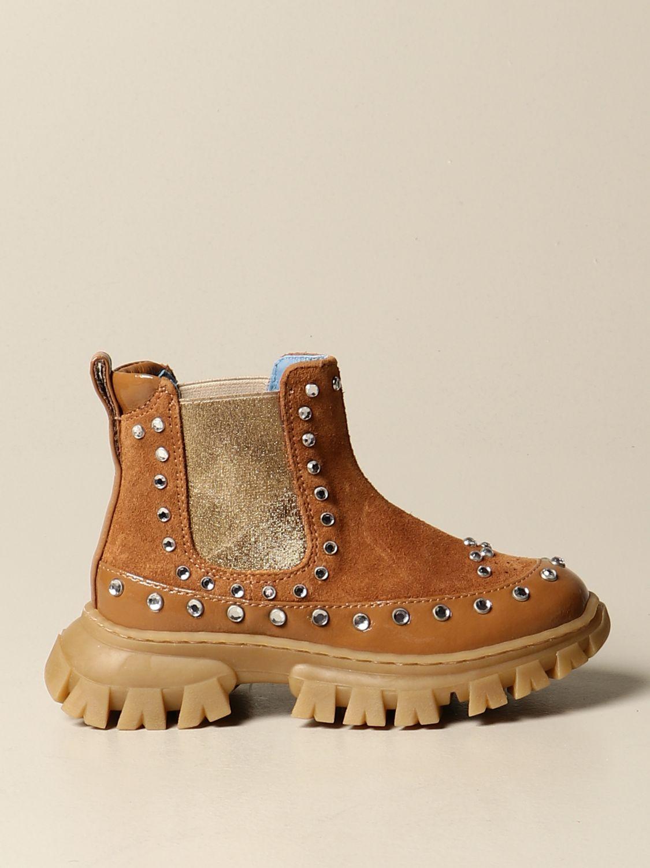 Shoes Mi Mi Sol: Mi Mi Sol ankle boot in suede and naplack camel 1