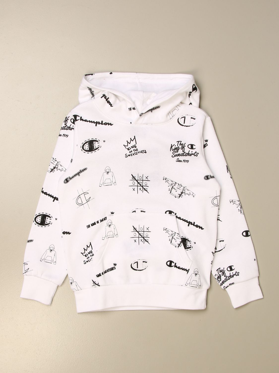 Sweater Champion: Champion cotton sweatshirt with all over logo white 1