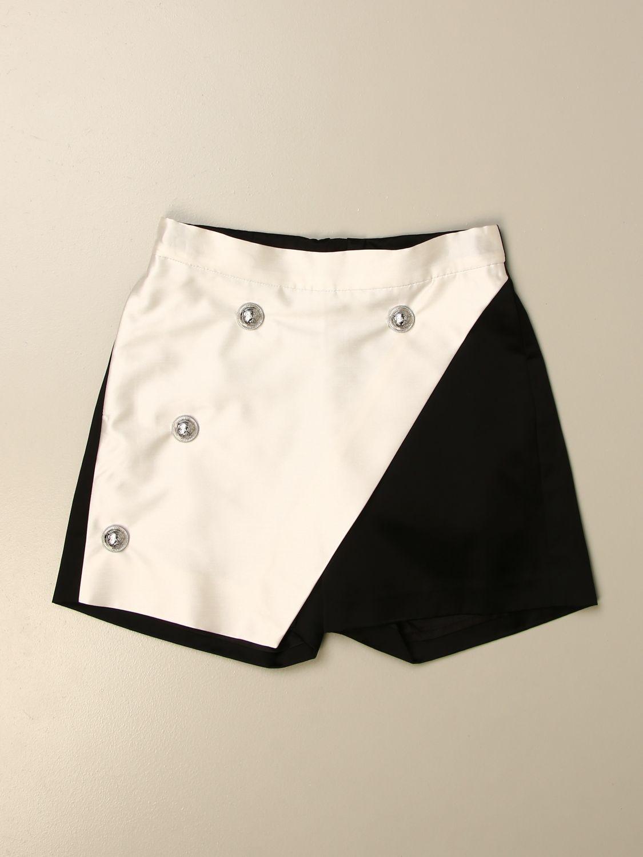 Pantalone Balmain: Pantaloncino Balmain in misto cotone bicolor nero 1