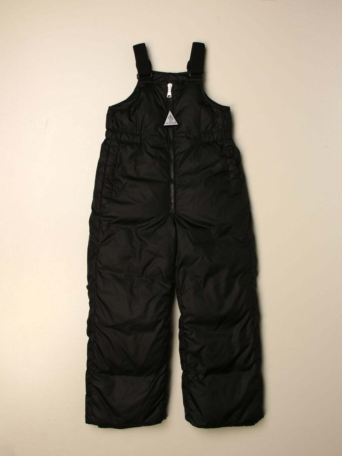 Pants Moncler: Padded and quilted Moncler nylon dungarees black 1