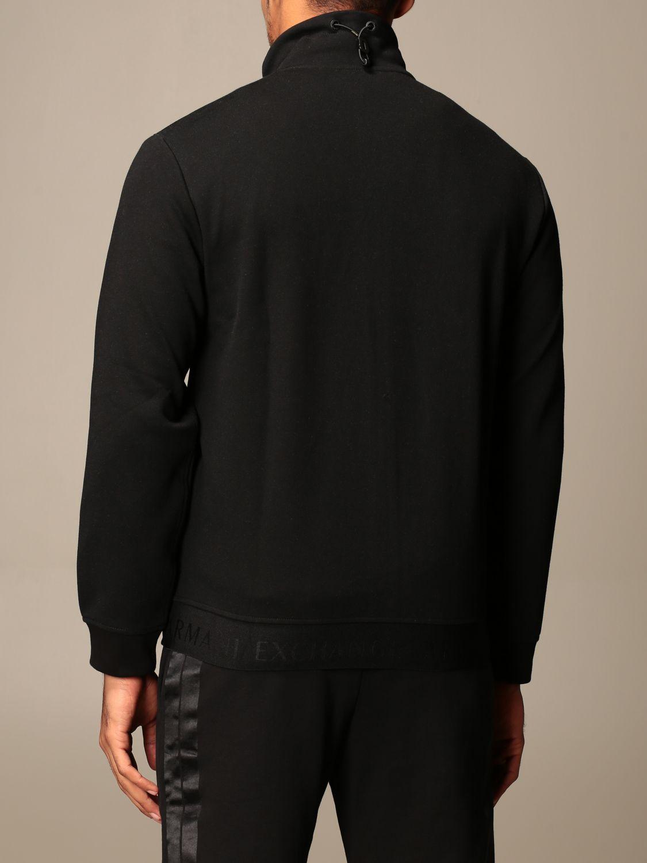 Felpa Armani Exchange: Felpa con zip Armani Exchange con logo nero 3