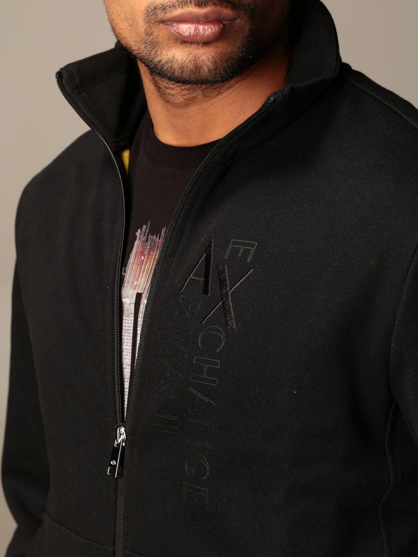 Felpa Armani Exchange: Felpa con zip Armani Exchange con logo nero 4