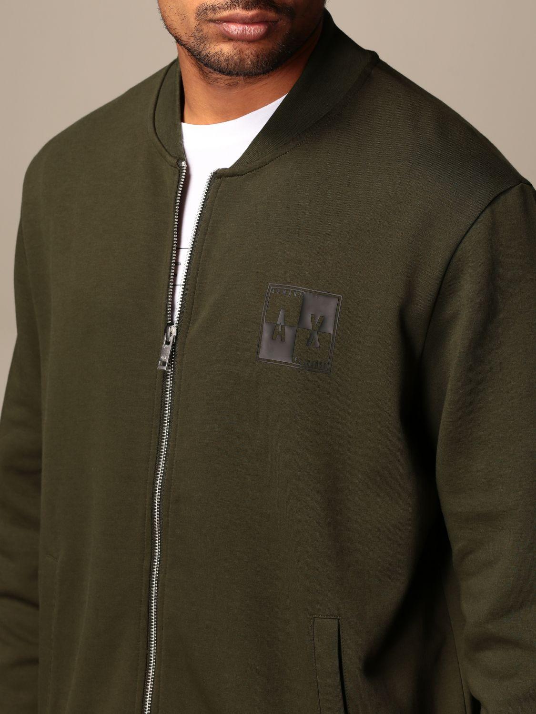 Felpa Armani Exchange: Bomber con zip Armani Exchange con logo verde 4