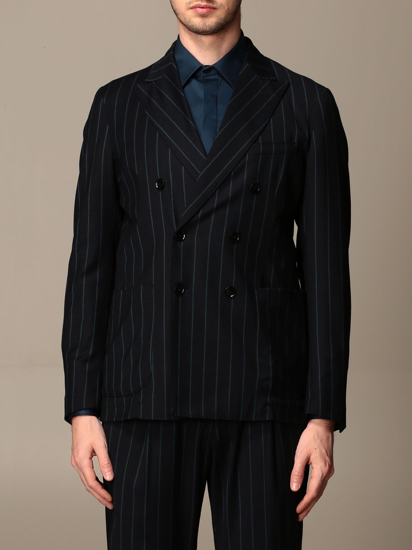 Jacket Alessandro Dell'acqua: Double-breasted jacket Alessandro Dell'acqua pinstriped blue 1