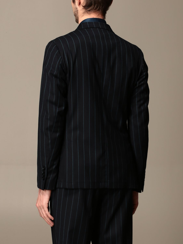 Jacket Alessandro Dell'acqua: Double-breasted jacket Alessandro Dell'acqua pinstriped blue 2