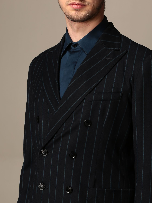 Jacket Alessandro Dell'acqua: Double-breasted jacket Alessandro Dell'acqua pinstriped blue 3
