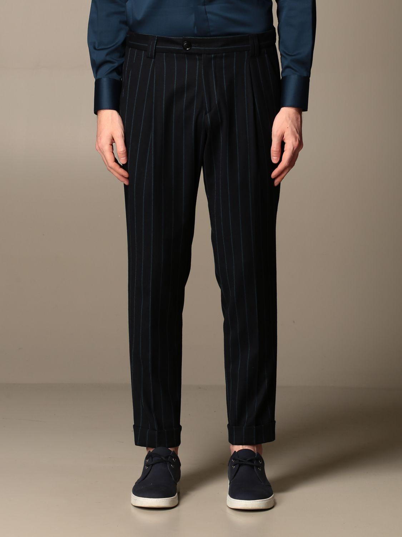 Pants Alessandro Dell'acqua: Alessandro Dell'acqua trousers in striped virgin wool blue 1