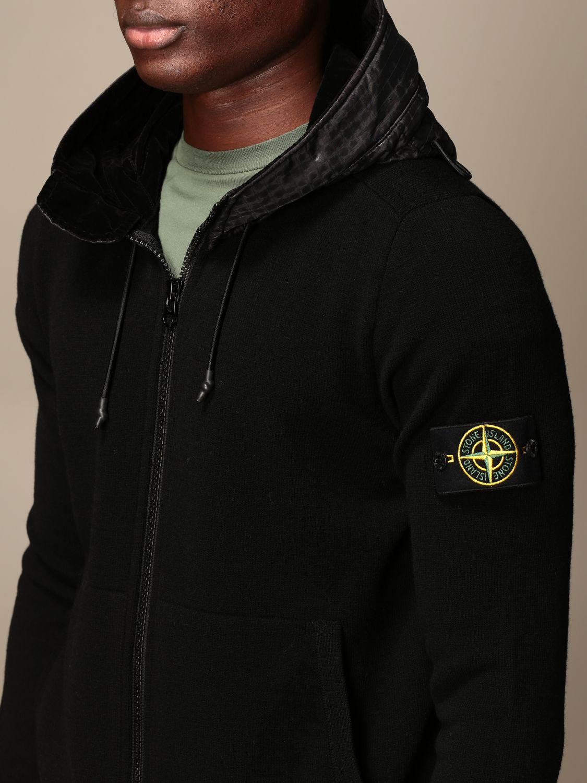 Stone Island Sweatshirt With Hood And Zip Sweatshirt Stone Island Men Black Sweatshirt Stone Island 585a1 Giglio En