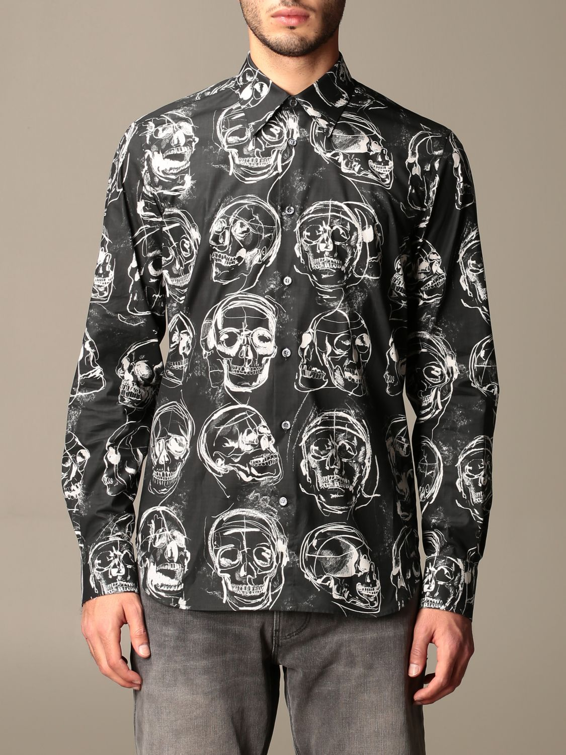 Shirt Alexander Mcqueen: Alexander McQueen shirt with all over skulls black 1