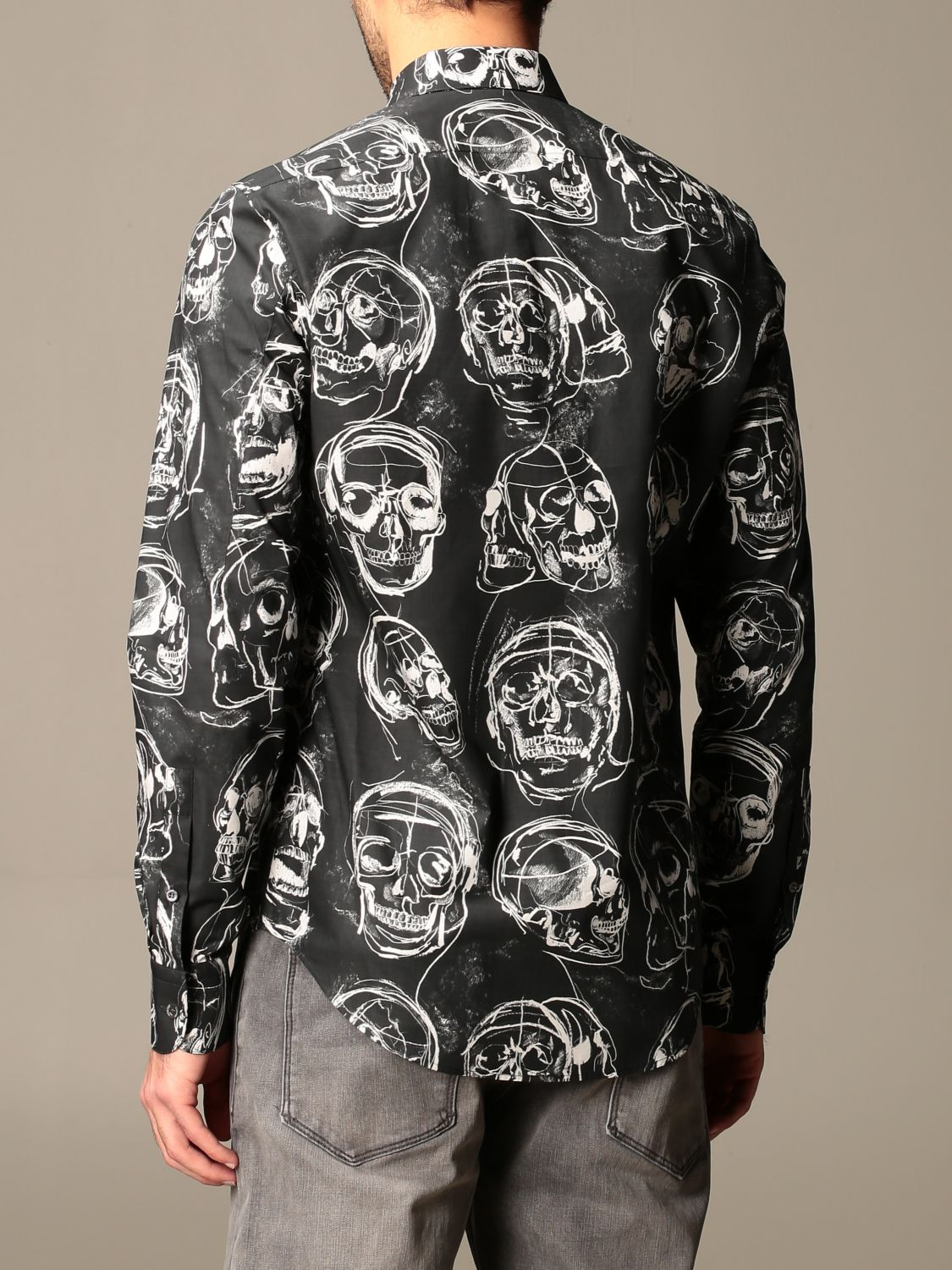 Shirt Alexander Mcqueen: Alexander McQueen shirt with all over skulls black 3