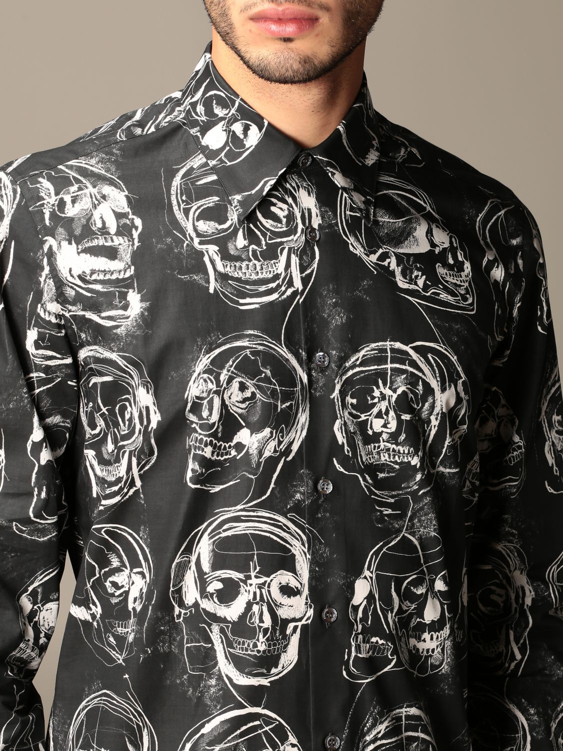 Shirt Alexander Mcqueen: Alexander McQueen shirt with all over skulls black 5