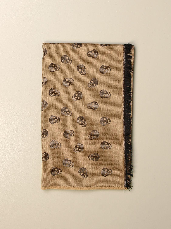 Sciarpa Alexander Mcqueen: Sciarpa Alexander McQueen in misto lana e seta con teschi cammello 1