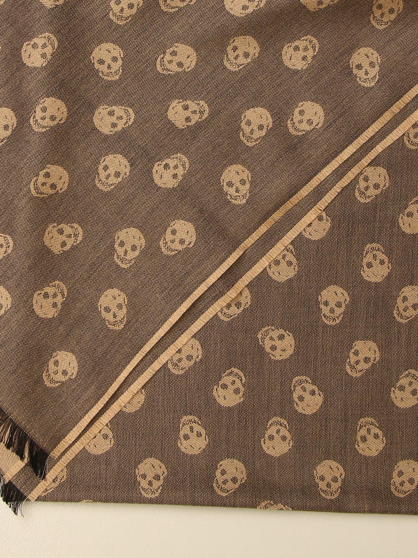 Sciarpa Alexander Mcqueen: Sciarpa Alexander McQueen in misto lana e seta con teschi cammello 3