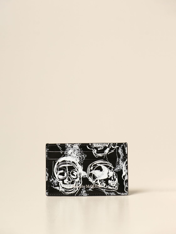 Wallet Alexander Mcqueen: Alexander McQueen credit card holder in printed leather black 1