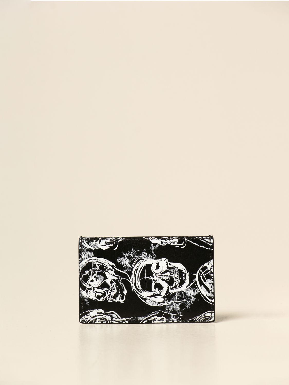 Wallet Alexander Mcqueen: Alexander McQueen credit card holder in printed leather black 2
