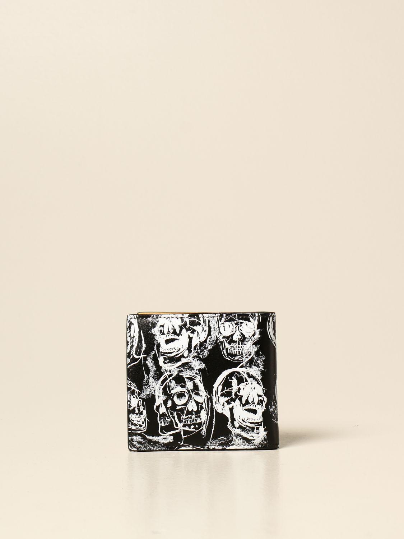 Portafoglio Alexander Mcqueen: Portafoglio Alexander McQueen in pelle con stampa teschi nero 3