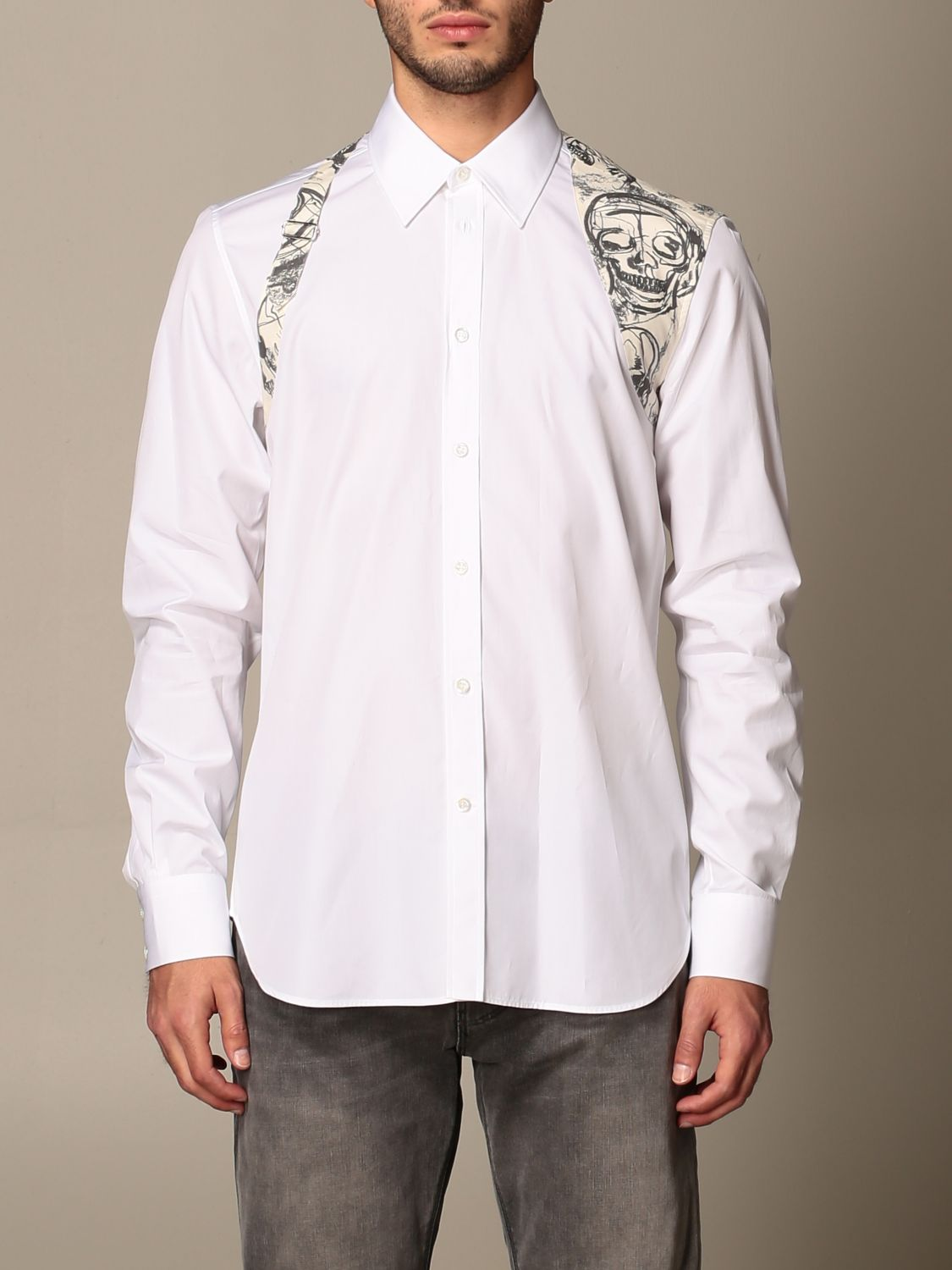 Shirt Alexander Mcqueen: Alexander McQueen shirt with skull print buckle white 1
