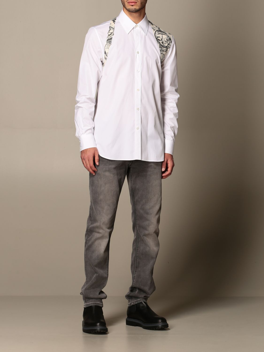 Shirt Alexander Mcqueen: Alexander McQueen shirt with skull print buckle white 2