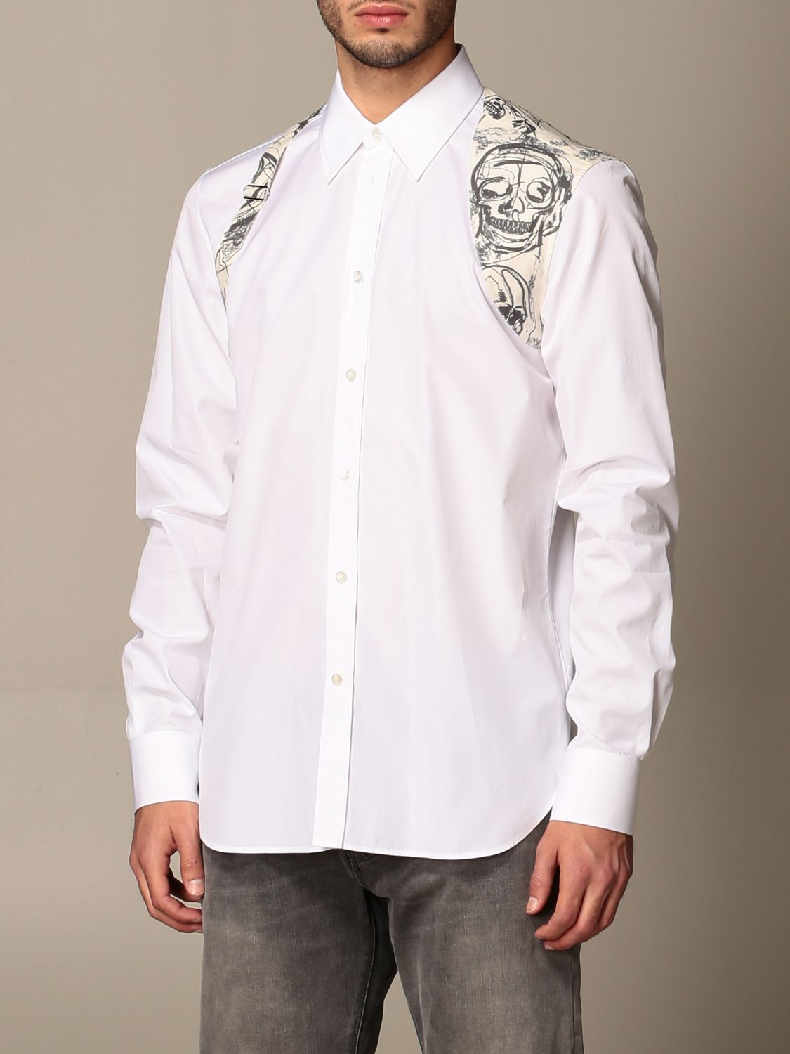 Shirt Alexander Mcqueen: Alexander McQueen shirt with skull print buckle white 4