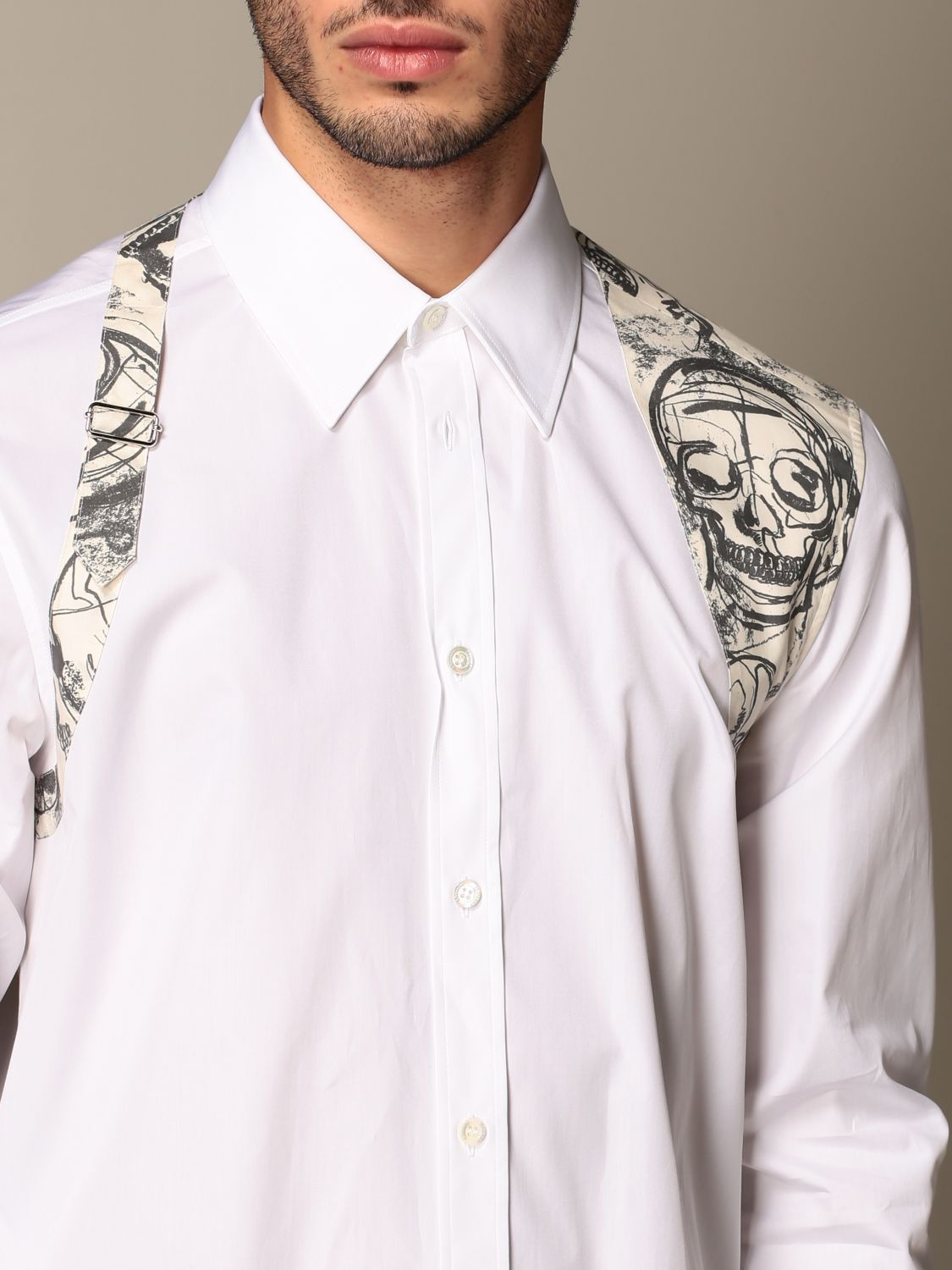 Shirt Alexander Mcqueen: Alexander McQueen shirt with skull print buckle white 5